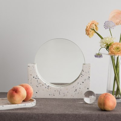 테라조 원형 탁상거울(풀문)