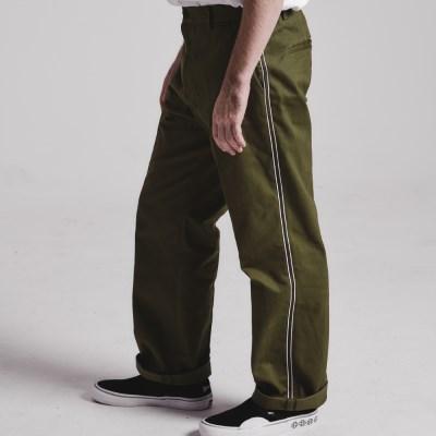Side tape semi-wide pants_OLIVE KHAKI