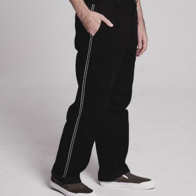 Side tape semi-wide pants_BLACK