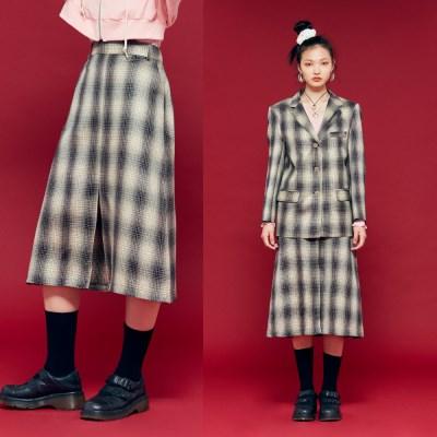 NEONMOON 19F Check Skirt BLACK