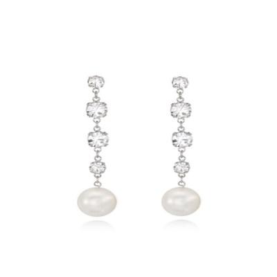 Crystal Drop Pearl Earring