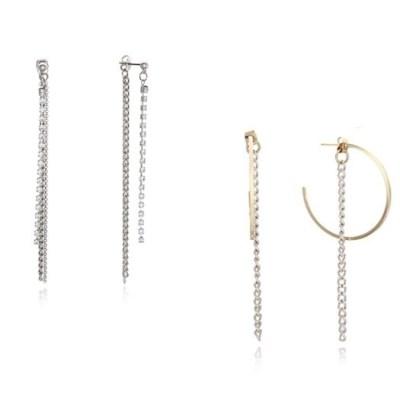 Long Crystal Earring + Ring Chain Earring