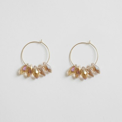 Drop Glass Ring Earring