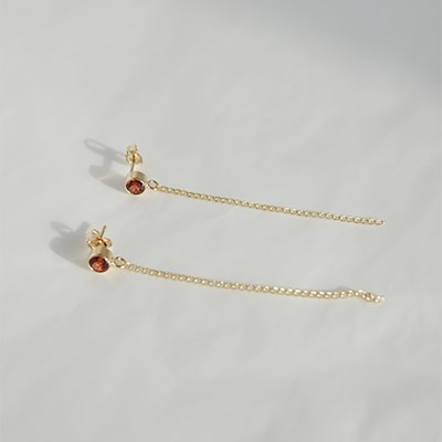Garnet Long Earring