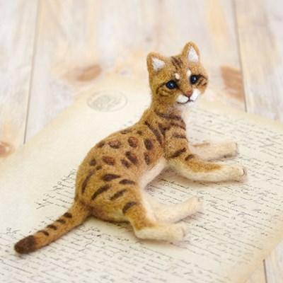 하마나카 니들펠트 양모 뱅갈 고양이 키트