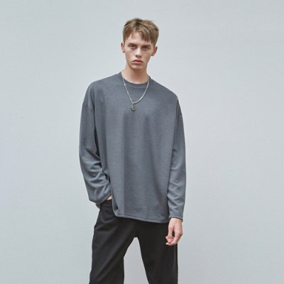 MILD OVER KNIT T-SHIRTS_CHARCOAL