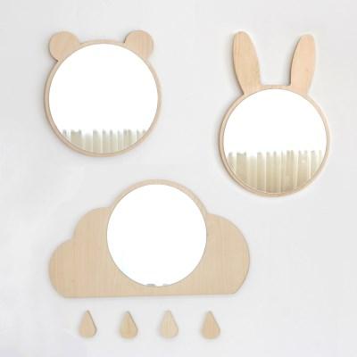 아이방 벽거울-토끼,곰,구름
