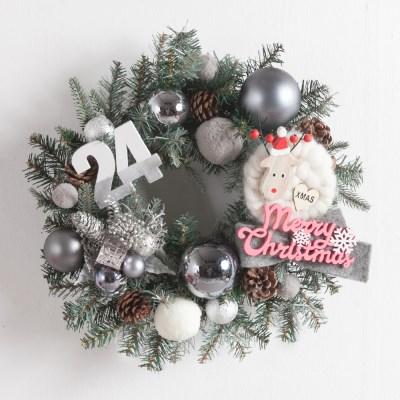 양모사슴그레이 리스 450Ø(mm)P 크리스마스 TRWGHM_(1480387)