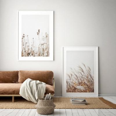 갈대 그림 가을 풍경 인테리어 액자 포스터 2in1 세트