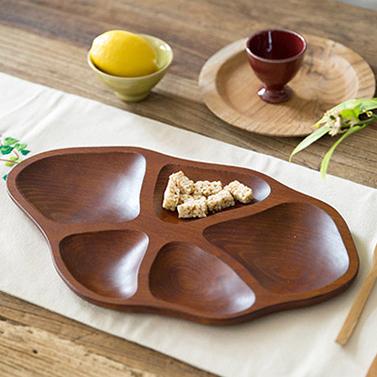 우드 오절 나눔접시 / 나무 우드 칸 안주 간식 접시 그릇