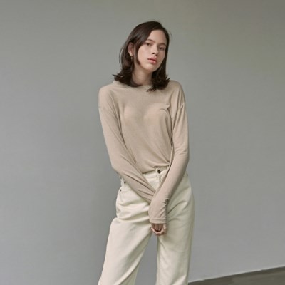 PURE LONG SLEEVE T-SHIRTS_BEIGE