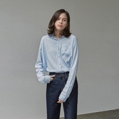 CLEAN SILKY SHIRTS_SKY BLUE