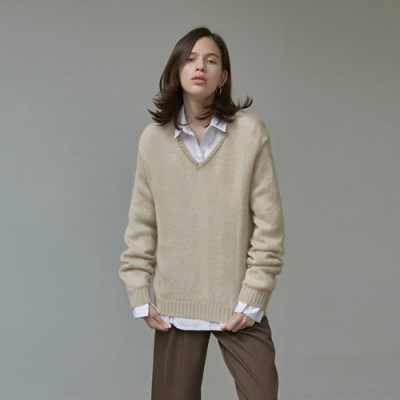 LOOSE-FIT MOHAIR KNIT_BEIGE