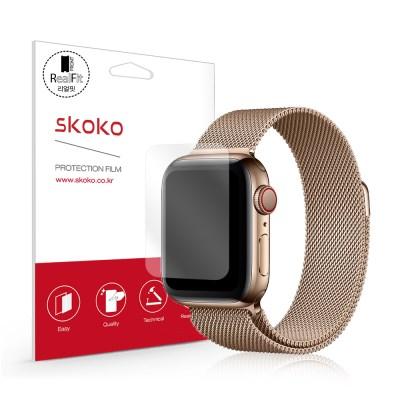 스코코 애플워치5 40mm 리얼핏 액정보호필름 2매_(853773)
