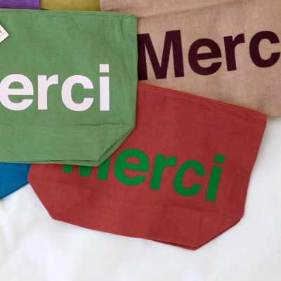Merci cotton pouch RED