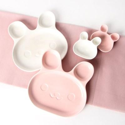 토끼 나눔접시 2PSet 핑크(대)+화이트(대)