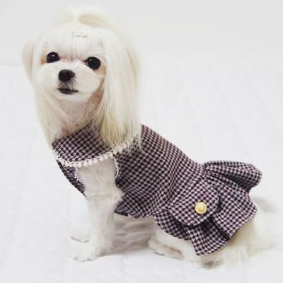 미니체크 기모 강아지 겨울원피스