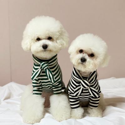 러블리댕댕 강아지 리본 스프라이프 맨투맨