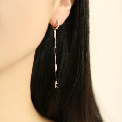 스퀘어 롱체인 로즈골드 링 원터치 귀걸이 OTE119909QPW