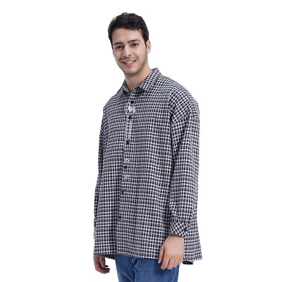 (UNISEX) MMM Long Over Check Shirts (BLACK)_(1410552)