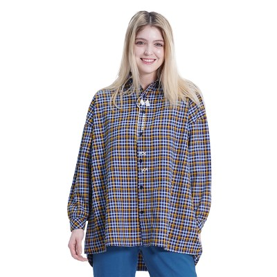 (UNISEX) MMM Long Over Check Shirts (SKY BLUE)_(1410551)