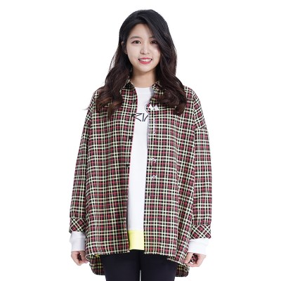 (UNISEX) MMM Long Over Check Shirts (L/GREEN)_(1410550)