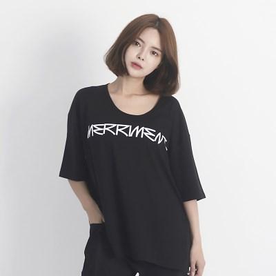 Back Lovely M Short Sleeve T-Shirt (BLACK)_(1410603)