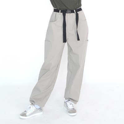 (UNISEX) Buckle Belt Cargo-Pants (LIGHT GREY)_(1410634)
