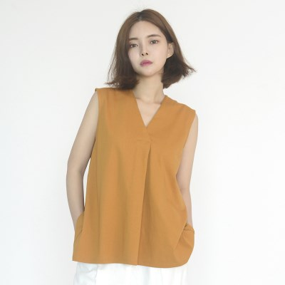 Chiffon Sleeveless Blouse (YELLOW)_(1410628)