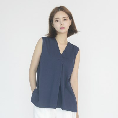 Chiffon Sleeveless Blouse (NAVY)_(1410627)