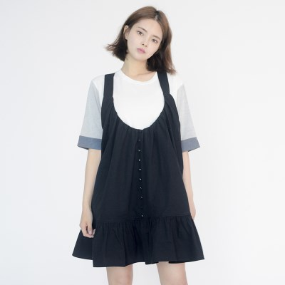 Frill Vest Boxy One-piece (BLACK)_(1410639)