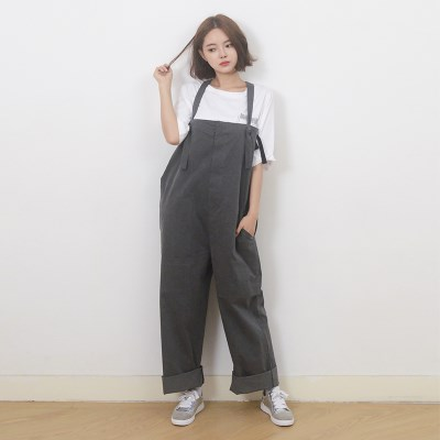 (UNISEX) Wide Overall Pants (BLACK)_(1410638)