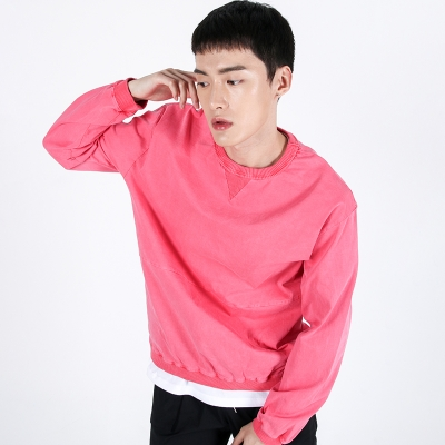 (UNISEX)Pigment crewneck Sweatshirt(HOT PINK)