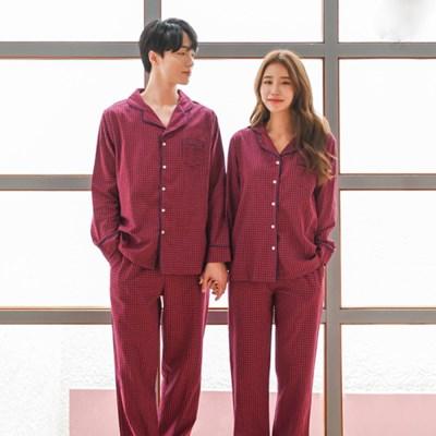 잔체크 가을 홈웨어 커플 잠옷 (빅사이즈OK)