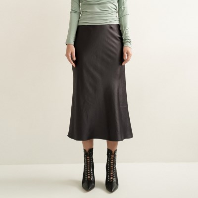 Lily Satin Flare Skirt_Charcoal_(17074)