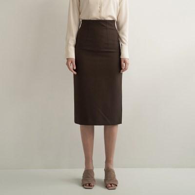 Emery Slit Pencil Skirt_Brown_(17063)