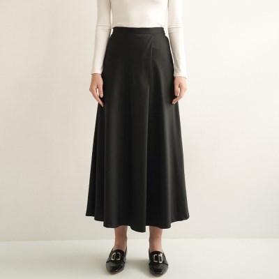 Amy Satin Wrap Skirt_Black_(17048)