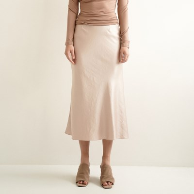 Lily Satin Flare Skirt_Beige_(17045)