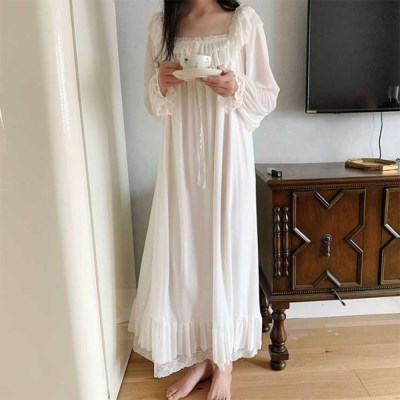 여신 스퀘어 레이스 원피스 롱 홈웨어 화이트 공주 잠옷