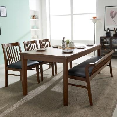 잉글랜더 트로이 고무나무 원목 6인용 식탁세트(벤치1+의자3)