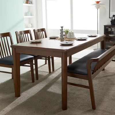 잉글랜더 트로이 고무나무 원목 6인용 식탁(의자 미포함)