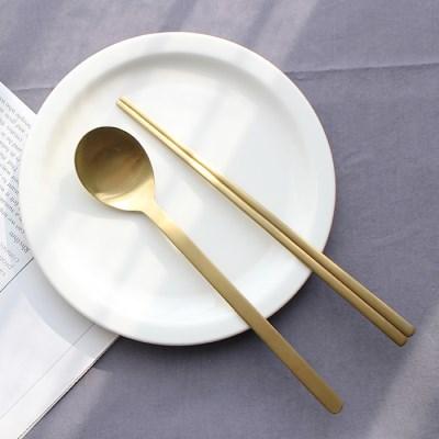 아카시아 골드 티타늄 수저세트 2벌 주방용품 수저