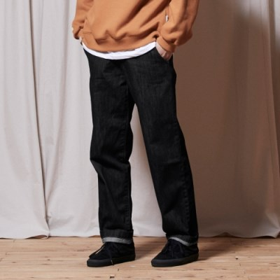 PL069_UBDTY Half Banding Denim Pants_Black Denim