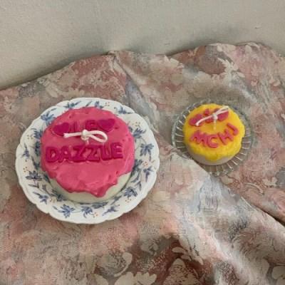 Msize 레터링 케이크 캔들 4scent 6color