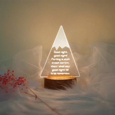 문구제작 눈덮인 산 LED 투명 아크릴 무드등