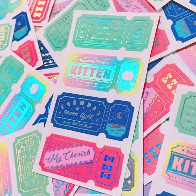 반짝반짝 티켓 Rainbow Vivid 칼선 스티커