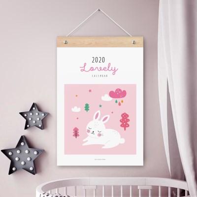 퍼니즈 2020년 키즈토끼 벽걸이 달력 동물 일러스트 캘린더