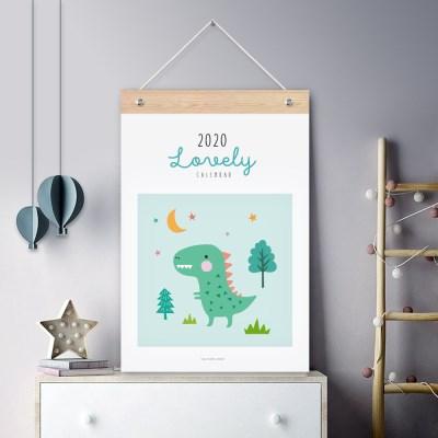 퍼니즈 2020년 키즈공룡 벽걸이 달력 동물 일러스트 캘린더