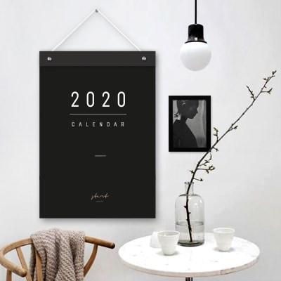 퍼니즈 2020년 모노블랙 벽걸이 달력 모던 심플 캘린더