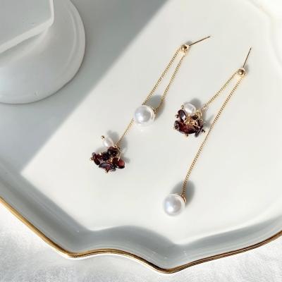 [KBS창원 기상캐스터 김태림 착용] 가넷 천연원석 담수진주 귀걸이